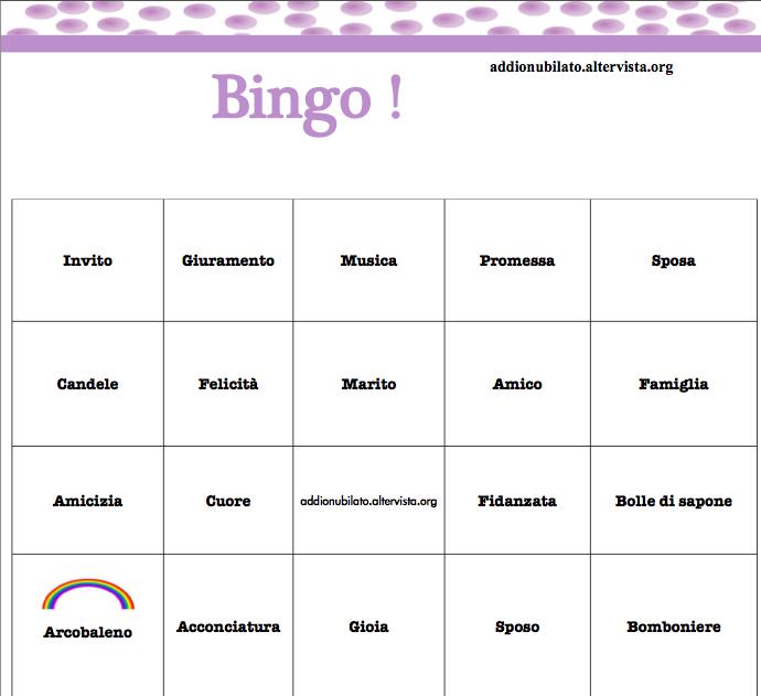 bingo per addio al nubilato