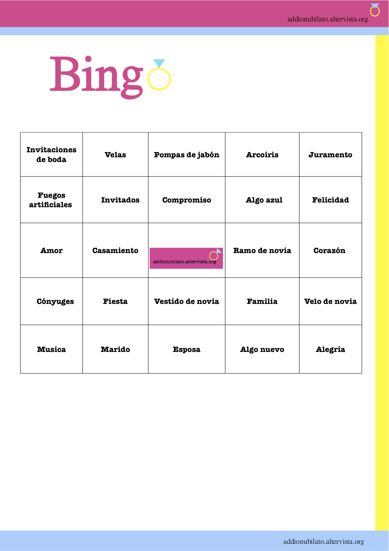 Bingo para despedida de soltera